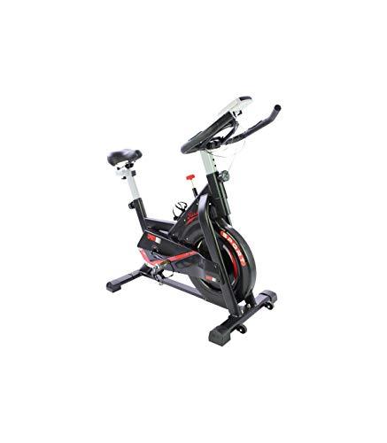 Riscko Bicicleta spinning Sport con volante de inercia de 24 kg   Bicicleta Estática Indoor Con Asiento Ajustable Y Cuadro de Acero, Manillar Ergonómico, Pulsómetro Integrado, Pedales Antideslizantes