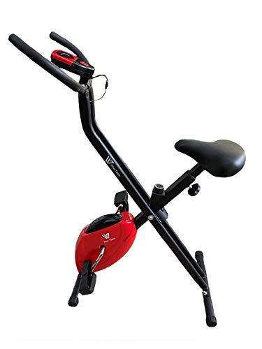 HANKING PLANET Bicicleta estática Plegable, Bicicleta estática Fitness con Niveles de Resistencia, Pantalla info. Velocidad, Distancia, calorias. (Roja)