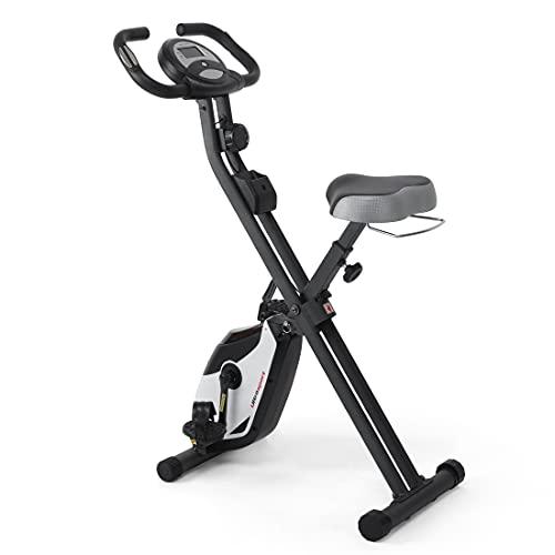Ultrasport F-Bike / F-Rider - Bicicleta Estática de Fitness, con Consola y Sensores de Pulso en Manillar, Plegable, color Negro/Plata