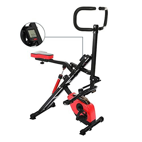 Femor Bicicleta Estática Plegable 2 en 1, Bicicleta de Fitness con Pantalla LCD, 12 Niveles de Tensión Magnética Ajustable, para Abdominales, Piernas y Brazos