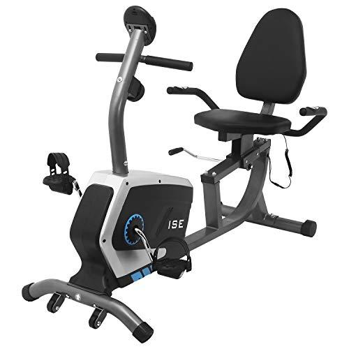 ISE Bicicleta Estática Reclinable de Spinning con Respaldo,Resistencia Magnética de 8 Niveles,Sensor de Pulso,Ideal para Ejercicios de Recuperación, Máx.120kg,SY-6801