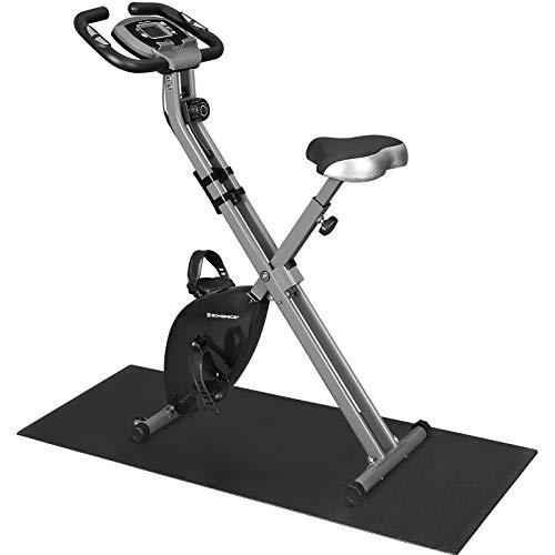 SONGMICS Bicicleta Estática, Bicicleta Fitness, Entrenador Plegable Indoor, 8 Niveles de Resistencia Magnética, con Alfombrilla, Sensor de Pulso, Soporte Telefónico, 100 kg Máx. Negro SXB11BK
