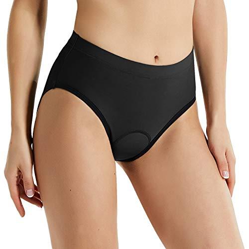 GWELL - Culotte para ciclismo (unisex, con acolchado de gel 3D), negro, para mujer, Mujer, color Negro , tamaño S
