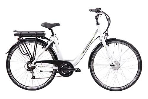 F.lli Schiano E- Moon Bicicleta eléctrica, Adultos Unisex, Blanco, 28