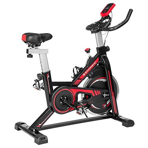 SONGMICS Bicicleta spinning, Bicicleta estática, para fitness en casa, con manillar ajustable, asiento y resistencia, sensor de pulso, pedales enjaulados, Negro y Rojo SEB617R01