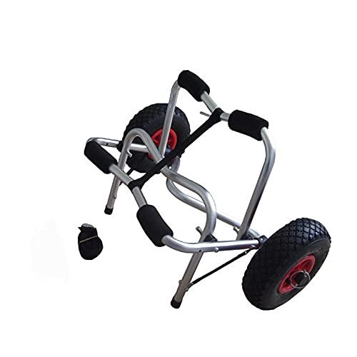 El carrito de kayak está hecho de aluminio, los accesorios de kayak son los más adecuados para el transporte de llantas en la playa el transporte de botes de pesca en canoa con 2 llantas y cinturón