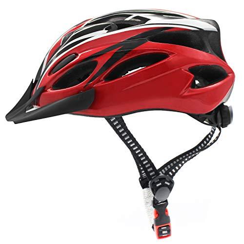 Casco de Bicicleta, Casco de Ciclismo Ligero Ajustable Unisex, Fahrradhelm de Carretera y montaña con Visera Desmontable (Rojo + Negro)