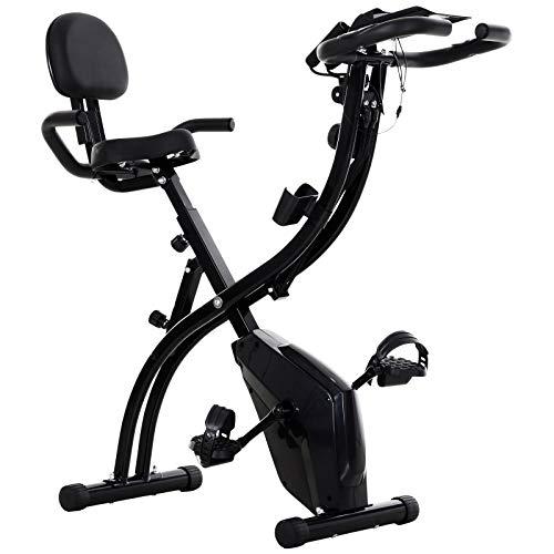 HOMCOM Bicicleta Estática Plegable con Altura y Resistencia Ajustables con Pantalla LCD y Asiento con Respaldo 52x107x110 cm Negro
