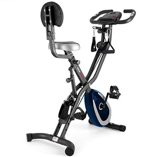 Ultrasport F-Bike 400BS Bicicleta estática Plegable, tracción, Pantalla y App, F-Bike 400BS con Respaldo/Cuerdas & APP, Unisex