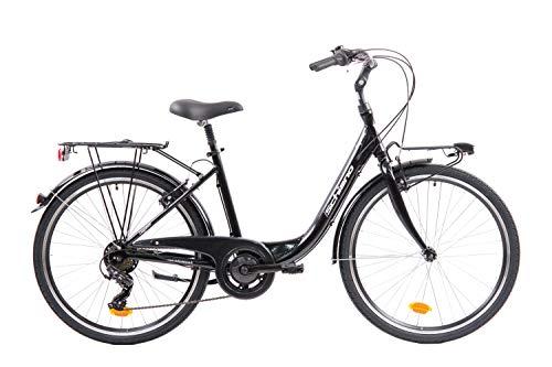 F.lli Schiano Elegance Bicicleta, Women's, Negro-Blanco, 26 ''