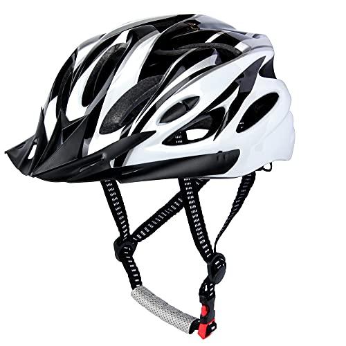 Casco de Bicicleta, Casco de Ciclismo, Casco Bicicleta Adulto Montaña, Visera y Forro Desmontable, Cascos Bicicleta Carretera para Hombres Mujeres Adultos (56-60 CM) (Negro)