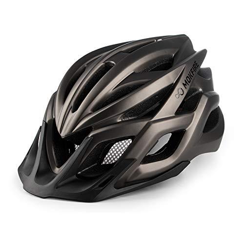 MOKFIRE Casco de Adulto para Bicicleta con luz USB Recargable, Casco de Bicicleta para Hombre y Mujer Bicicleta de Carretera y de montaña 57-62 CM