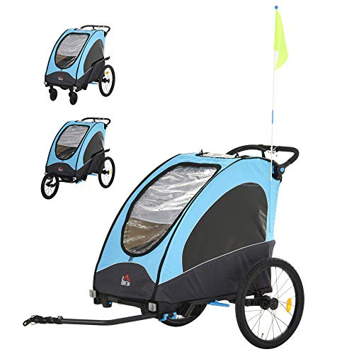 HOMCOM Remolque Infantil 3 en 1 para Bicicleta Carrito para Correr de 2 Plazas para Niños de +6 Meses Plegable Ruedas Giratorias y Manillar Ajustable 150x85x107 cm Azul