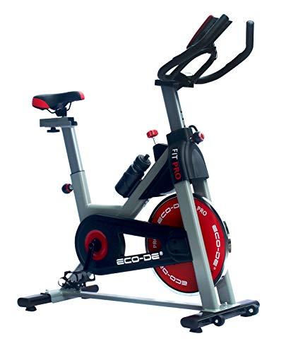 ECODE Bicicleta Spinning Fit Pro. Uso semiprofesional con pulsómetro, Pantalla LCD y Resistencia Variable 20kgrs. Estabilizadores. Completamente Regulable.