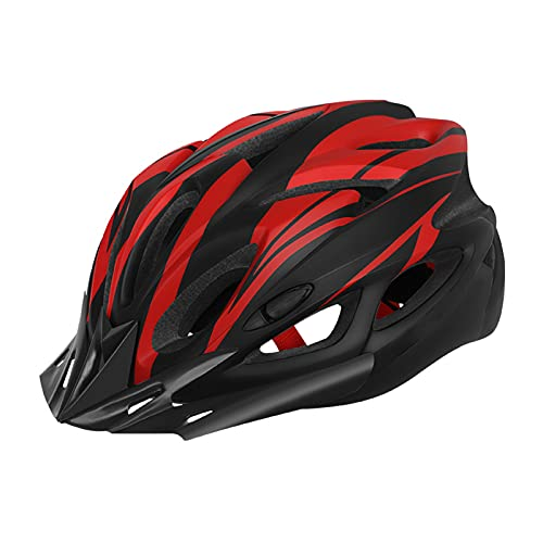Casco Bicicleta Adulto con Luz Trasera,Casco MTB Road Bicicletas,Casco Ciclismo Ajustable Protección de Seguridad con Visera Desmontable y Protector Unisex Ligero Hombres Mujeres (Rojo)