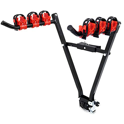 Portabicicletas para enganche de remolque, plegable, para 3 bicicletas