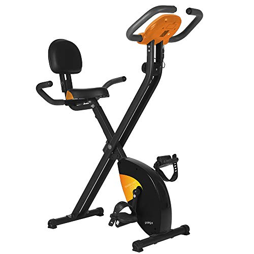 gridinlux. Trainer X-Bike 500. Bicicleta estática Magnética Plegable, Doble Agarre, Pulsómetro, Pantalla LCD, Resistencia 8 Niveles de Intensidad, Altura Regulable, Sillín Extra Confort