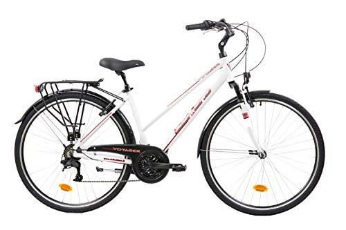 F.lli Schiano Voyager Bicicleta Trekking, Women's, Blanco-Rojo, 28''