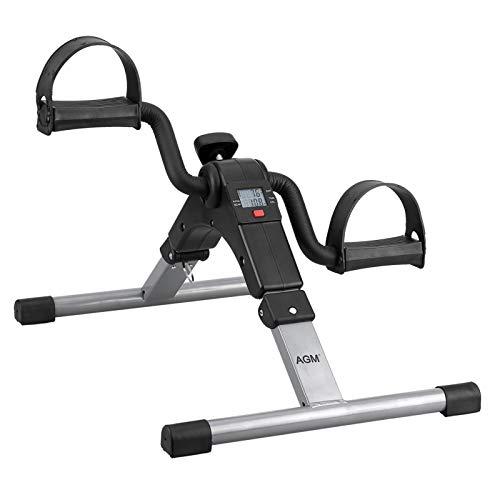 AGM Pedales Estaticos, Mini Bicicleta Estática, Pedaleador Plegable LCD Pantalla, Máquinas de Piernas para Entrenamiento de Brazos y Piernas Resistencia Ajustable (Negro C)