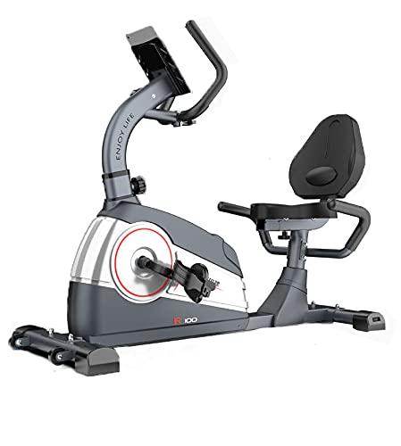 Bicicleta Estática de Spinning Bicicleta reclinada con 7 Niveles de Resistencia Soporte para Tablet,Sillín Ajustable,y Silenciosa. GRIS (Gris)