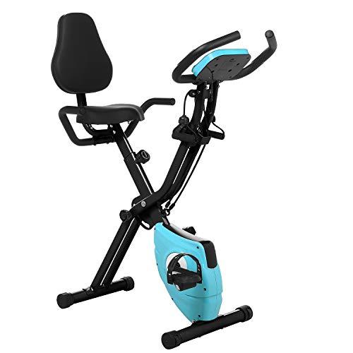 Profun Bicicleta Estática Plegable de Fitness con Respaldo Xbike con App Pantalla LCD 10-Niveles Ajustable para Ejercicio Entrenamiento en Casa (Negro+Respaldo)