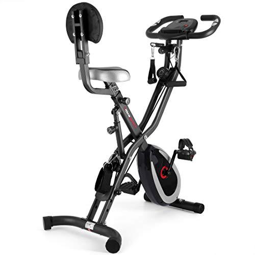 Ultrasport F-Bike 400BS Bicicleta estática Plegable, tracción, Pantalla y App, F-Bike 400BS con Respaldo/Cuerdas & APP, Unisex, Gris Oscuro / Negro