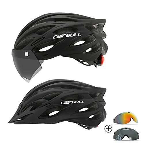 Cairbull Casco de Bicicleta de Ciclismo para Adultos con LED y Dos Juegos de Gafas Luz Trasera Visera extraíble Hombres Mujeres Bicicleta Adultos para Montar Negro