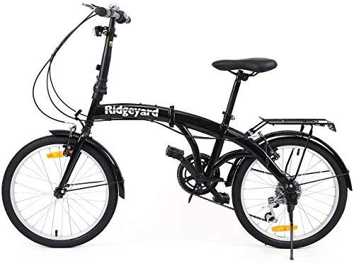 Bicicleta plegable de 20 pulgadas con 7 marchas, con luz LED de batería y soporte trasero, color negro