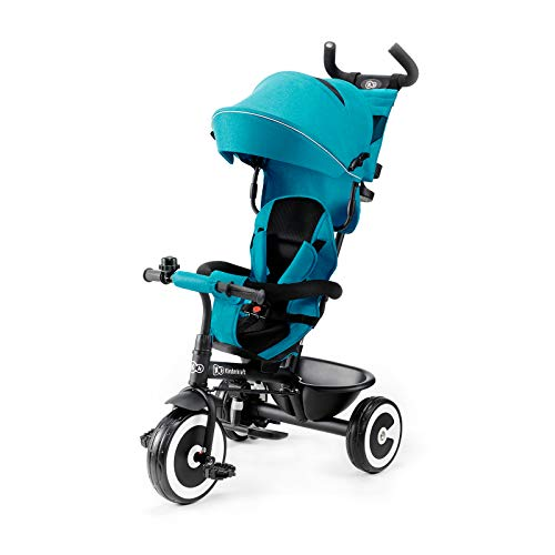 Kinderkraft Triciclo Evolutivo ASTON, Plegable, Cinturón, 9 Meses a 5 Años, Azul