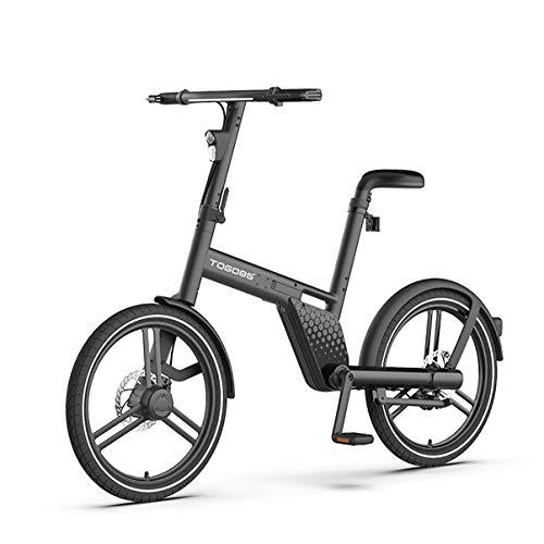 TOGO85° Bicicleta eléctrica plegable con eje de 20 pulgadas, motor central, hermosa y estable, con sensor de velocidad, IP65, impermeable, negro