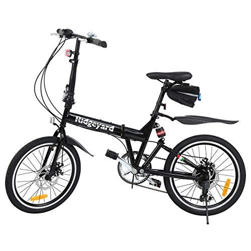 Ridgeyard Bicicleta Plegable 20 Pulgadas de 6 velocidades Bici Plegable + Luz de la batería del LED + Asiento Bag + Bell de la Bici (Negro)