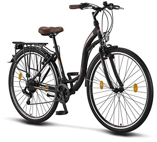 Licorne Bike Stella de 28 Pulgadas, Bicicleta Paseo, Bicicleta para Mujer, Desde 160 cm, luz de Bicicleta, Cambio de Velocidad Shimano 21, Bicicleta Urbana para Mujer, Bicicleta para Mujer