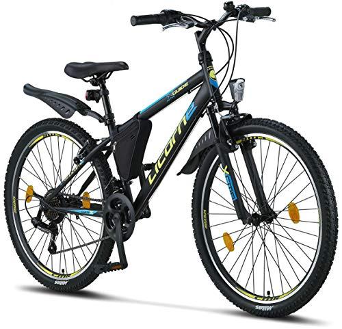Licorne Bike Guide Bicicleta de montaña de 26 pulgadas, cambio Shimano de 21 velocidades,suspensión de horquilla,bicicleta para niños y niñas,bolsa para cuadro,negro/azul/verde lima