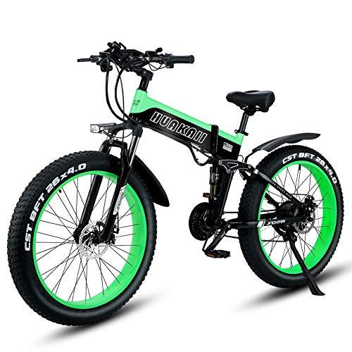 Shengmilo Bicicletas eléctricas de 26 Pulgadas, Bicicleta eléctrica de montaña Plegable, 1000W 48V13ah, batería de células, Bicicleta eléctrica, Bicicleta eléctrica para Hombres de Mujeres (Verde)