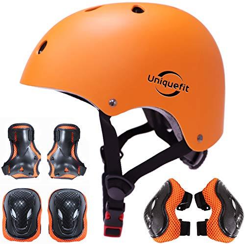 Casco Ajustable para niños y Equipo de protección, Cascos y Almohadillas para Bicicletas para niños pequeños, Rodilleras, Coderas y muñequeras (Orange, S(3-8years Old))