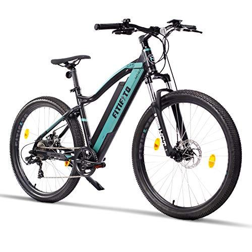 bicicleta eléctrica fitifito Copenhagen MT27,5 pulgadas mountainbike E-bike ,36v 250w Motor,13Ah 468Wh Lon de litio,21 Speed Shimano Gears,negro y gris, bicicleta Montaña