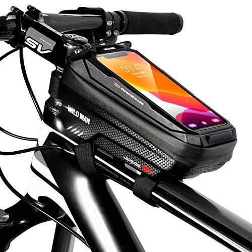 TEUEN Bolsa Bicicleta Impermeable Bolsa Movil Bici con Ventana para Pantalla Táctil, Bolsa para Cuadro Bicicleta Montaña para Smartphones de hasta 6,5