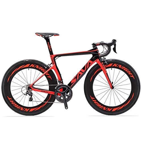 SAVADECK Phantom 2.0 700C Bicicleta de Carretera de Fibra de Carbono Shimano Ultegra R8000 22-Velocidad Sistema Michelin 25C Neumáticos Fi'zi: k Cojín (54cm, Negro Rojo- 88mm)